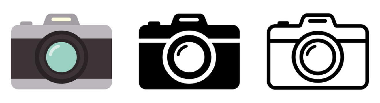 Camera icon set. Photo camera in flat style. Vector