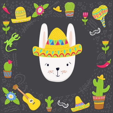 Adorable bunny in Mexican style frame, vector  illustration in mexican style for cards, prints, posters and other designs
