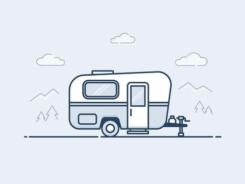 Caravan trailer vector illustrationin monoline / line art style