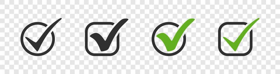 Fototapeta Check mark. Check mark vector icons. Green and black check marks in circle and square. check mark collection, isolated. Eps10 obraz