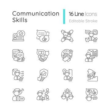 Communication skills linear icons set. Different personal traits. Self development, teamwork skills customizable thin line contour symbols. Isolated vector outline illustrations. Editable stroke