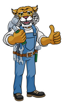 A wildcat cartoon animal mascot carpenter or handyman builder construction maintenance contractor holding a hammer and giving a thumbs up