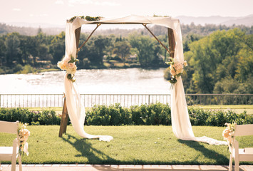 Wedding canopy overlooking the Sacramento River in Northern California