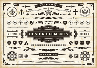 Fototapeta Vintage Original Design Elements Set. Editable EPS10 vector illustration in retro style with transparency. obraz