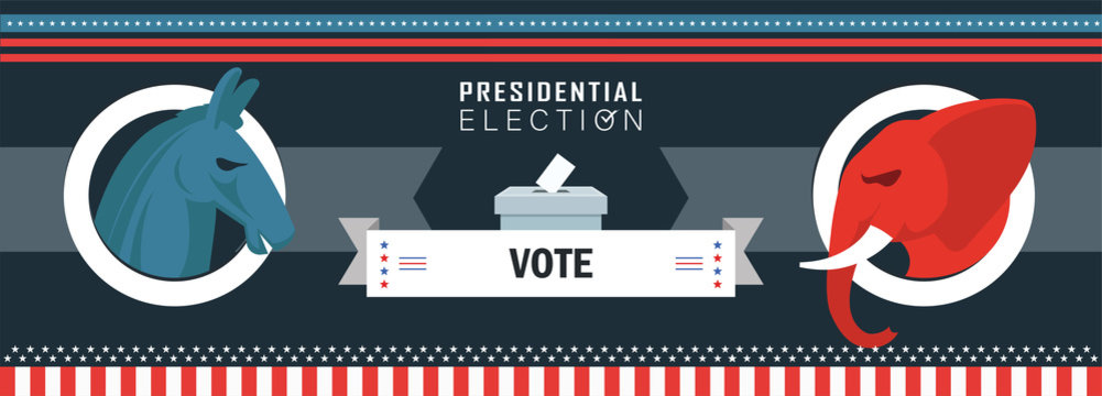 US Presidential Election Banner for year 2020. American Election campaign & debate between democrats and republicans. Electoral symbols of both political parties.
