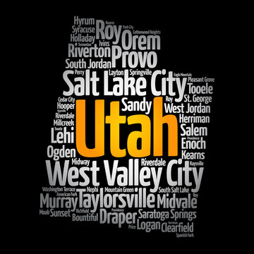 List of cities in Utah USA state, map silhouette word cloud, map concept background