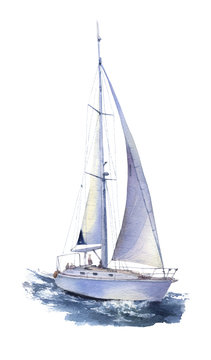 A yacht with sails set (sailboat) at sea hand drawn in watercolor isolated on a white background. Watercolor illustration. Marine illustration