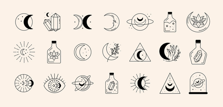 Vector abstract logo design template in trendy linear minimal style - sun, moon and stars - abstract symbol for cosmetics and packaging, jewellery, hand crafted or beauty products