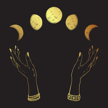 Hand drawn line art and dot work gold moon phases in hands of witch isolated. Boho chic flash tattoo, poster, altar veil or tapestry print design vector illustration.