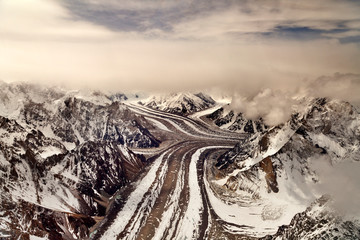 Biggest glaciers after pools are glaciers in karakorum range Gilgit Baltistan Pakistan