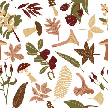 Autumn pattern in retro colors. Mushrooms and berries with leaves for printing on fabric, brochures, wrapping paper. Vector flat illustration of achromatic colors.