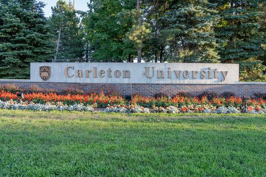 Ottawa, Ontario, Canada - August 7, 2020: Carleton University sign at the campus in Ottawa, Ontario, Canada on August 7, 2020. Carleton University is a public comprehensive university.