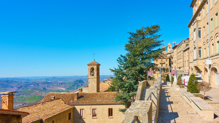 Wall Mural - View of San Marino with street and bell tower