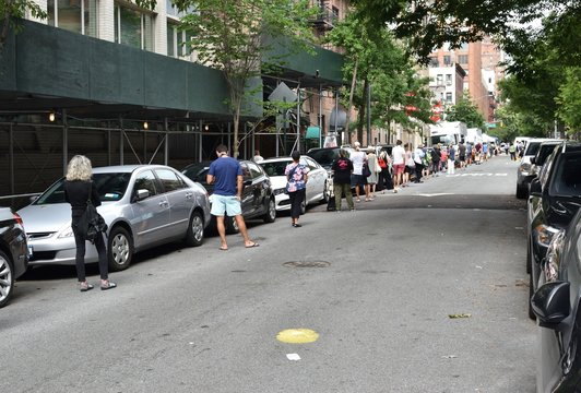 Saturday morning Greenmarket queue, August 8, 2020, in New York. Since the coronavirus pandemic hit New York City, GrowNYC quickly reconfigured its 80+ food access sites to keep them open and safe.