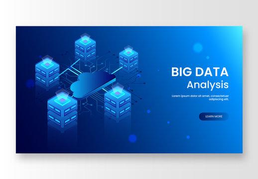 Blue Big Data Website Hero Image Layout with Servers