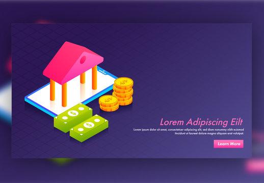 Isometric Website Hero Image Layout with Finance Icons