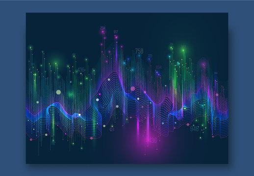 Colorful Shiny Waves Hi-Tech Digital Network Concept