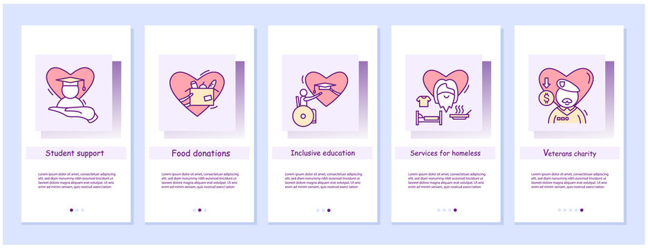 Students, poor, homeless and veterans support charity onboarding mobile app screens. Education ad anti poverty social activism slide steps menu. Set of UI, UX, web template with RGB color linear icons