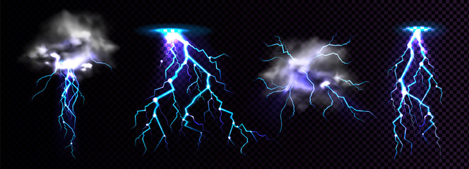 Fototapeta Lightning strikes and thundercloud, impact place or magical powerful energy flash in blue color. Thunderbolt electrical discharge, realistic 3d vector set isolated on black and transparent background obraz