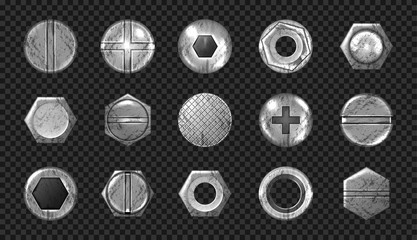 Old screw and nail heads set, steel metal bolts, grunge rusty rivets hardware grey caps with grooves and holes top view isolated on transparent background. Realistic 3d vector illustration, icons