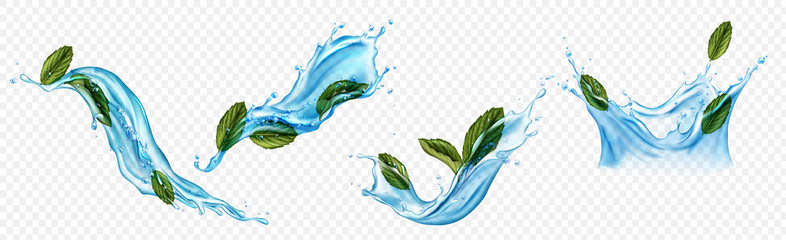 Fototapeta Water splashes with menthol or mint leaves. Dynamic motion of pure liquid with spearmint and droplets, isolated hydration elements, drink ad isolated on transparent background. Realistic 3d vector set obraz