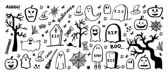 Vector set of halloween clipart. Funny, cute illustration for seasonal design, textile, decoration kids playroom or greeting card. Hand drawn prints and doodle.