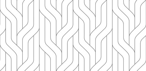Monochrome seamless striped pattern. Wavy stylish abstract background.