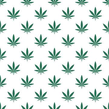 Marijuana Leaf (Cannabis Indica) Green Pattern
