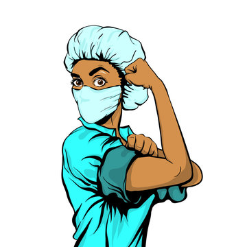 We Can Do It woman doctor in medical mask