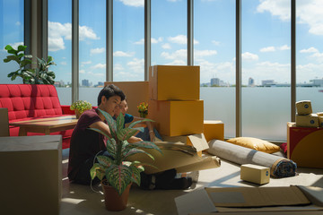couple take relax during house moving and relocation