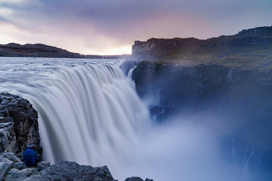 Long exposure shot of the Dettifoss Waterfall on a autumn dusk