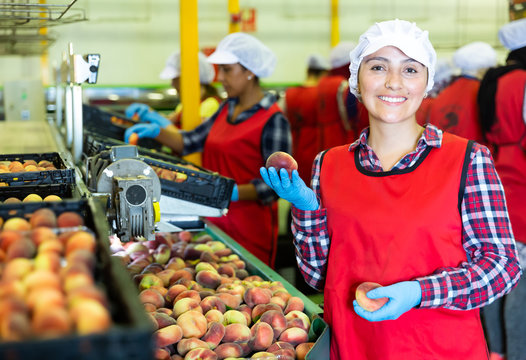 Smiling Latina woman worker standing in fruits industrial production facility holding ripe peaches
