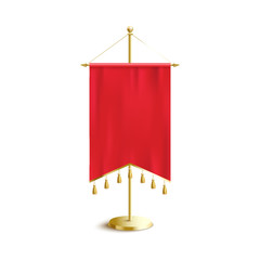 Red medieval pennant banner with pointed double ends and hanging decorations