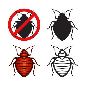 Set of vector bed bugs insect icons
