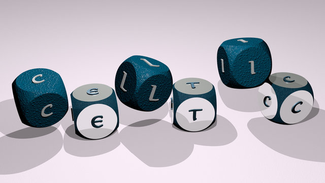 celtic text by dancing dice letters - 3D illustration for background and design