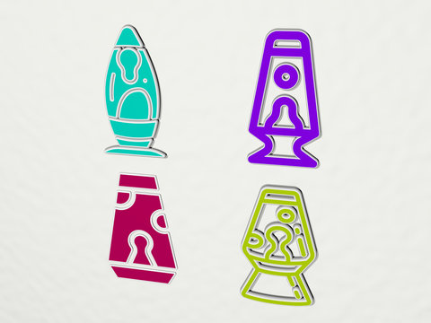 lava lamp colorful set of icons - 3D illustration