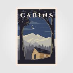 vintage cabins poster vector illustration design, night camp in cottage background design