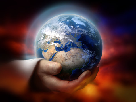 God holding the earth conceptual theme