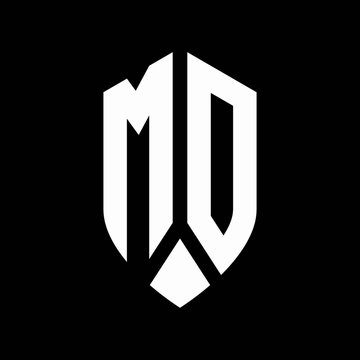 md logo monogram with emblem shield style design template