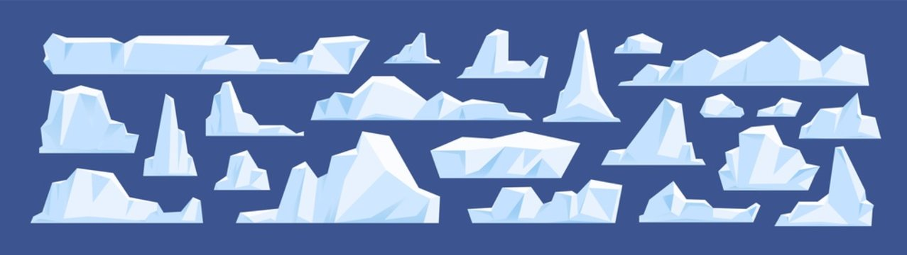 Set of floating glacier, iceberg in north sea or arctic ocean. Melting ice peak, rocks in antarctica. Natural icy mountains of snow in winter. Flat vector cartoon illustration isolated on blue