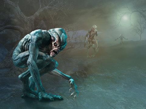 Swamp monsters scene 3D illustration