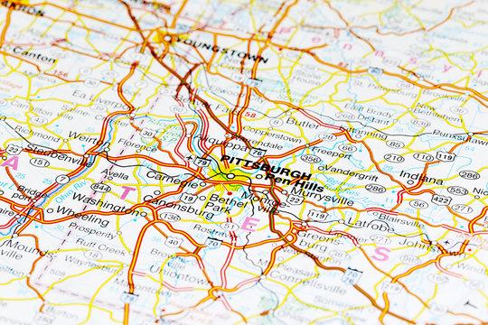 Pittsburgh city road map area. Closeup macro view