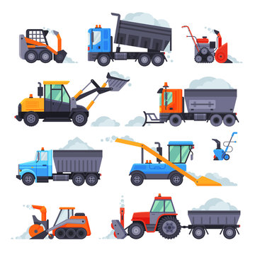 Winter Snow Removal Machines Collection, Cleaning Road Snowblower, Snow Plow Vehicles Vector Illustration