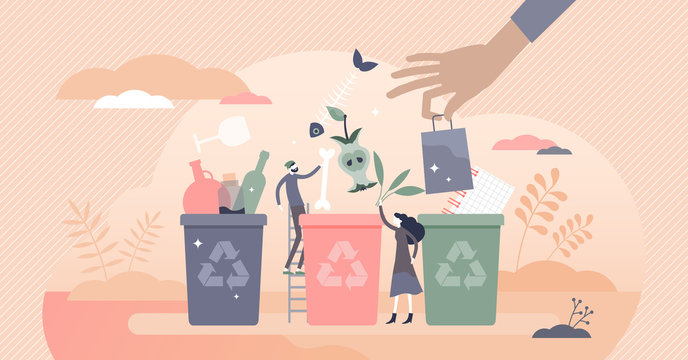 Sorting garbage containers to separate waste and trash tiny persons concept
