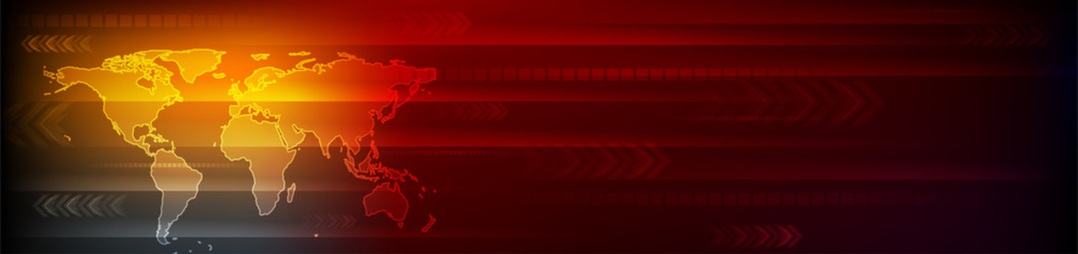 Abstract bright orange red technology background with world map and arrows. Vector banner design