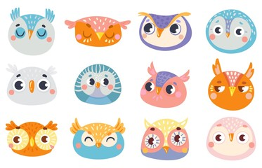 Wall Murals Owls cartoon Cute owl faces. Set of face owl fun, drawing childish illustration, cheerful look and animal birds emotion vector