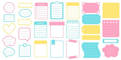 Planner stickers and frames set. Sticker planner template, frame for scrapbook set, illustration notebook and organizer vector