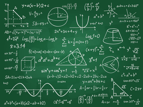 Math theory. Mathematics calculus on class chalkboard. Algebra and geometry science handwritten formulas vector education concept. Formula and theory on blackboard, science study illustration