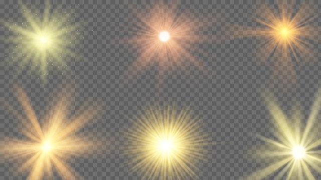 Sun ray effect. Starburst yellow shine, sunlight radiance on transparent background. Sunshine beams, summer sunbeam vector set. Illustration sun star light, effect burst, flare and bright starburst