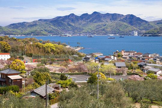 Shodoshima island seaside village at Olive park in Kagawa, Japan